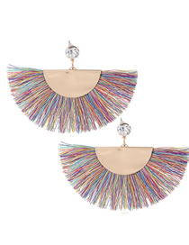 Fashion Multi-color Sector Shape Decorated Tassel Earrings