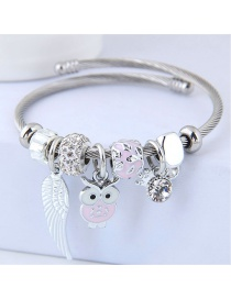 Fashion Pink Owl Shape Decorated Bracelet