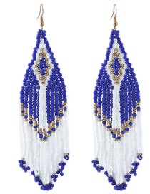 Fashion Blue+white Tassel Decorated Earrings