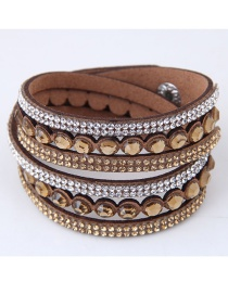 Fashion Brown Diamond Decorated Pure Color Bracelet