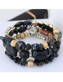 Fashion Black Bead Decorated Multi-layer Bracelet