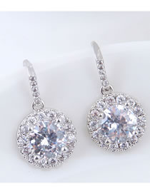 Elegant Silver Color Round Shape Design Pure Color Earrings