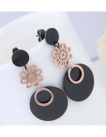 Elegant Rose Gold+black Hollow Out Flowers Decorated Long Earrings