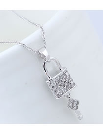 Elegant Silver Color Lock Pendant Decorated Long Necklace