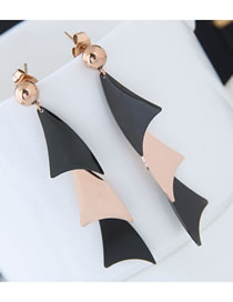Fashion Black+rose Gold Leaf Shape Design Color Matching Earrings