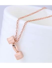 Fashion Rose Gold Prop Shape Pendant Decorated Long Necklace