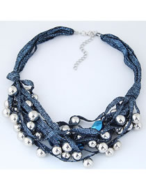 Fashion Dark Blue Balls Decorated Multi-layer Necklace