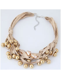 Fashion Gold Color Balls Decorated Multi-layer Necklace