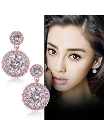 Fashion Rose Gold Round Shape Design Pure Color Earrings