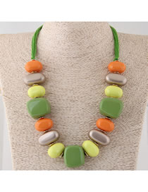 Fashion Multi-color Geometric Shape Decorated Color-matching Necklace
