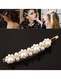 Fashion Gold Color+white Full Pearl Decorated Hair Clip