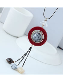 Fashion Red Round Shape Decorated Necklace