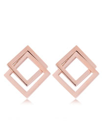 Fashion Rose Gold Double Square Shape Design Simple Earrings