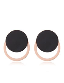 Fashion Rose Gold+black Round Shape Design Color Matching Earrings
