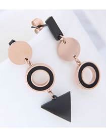Elegant Black+rose Gold Geometric Shape Design Long Earrings