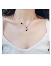 Elegant Rose Gold Moon&star Decorated Long Necklace
