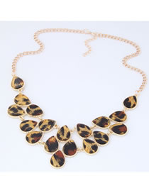 Elegant Light Brown Leopard Pattern Decorated Necklace