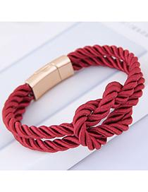 Fashion Claret Red Pure Color Decorated Bracelet