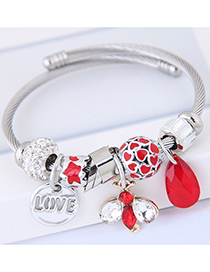 Fashion Red Waterdrop Shape Decorated Multi-element Bracelet
