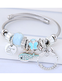Fashion Blue Fish Shape Decorated Multi-element Bracelet