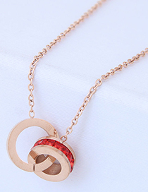Fashion Rose Gold+red Round Shape Decorated Necklace