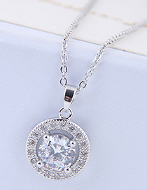 Sweet Silver Color Round Shape Pendant Decorated Necklace