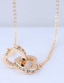 Sweet Gold Color Heart Shape Pendant Decorated Necklace