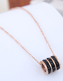 Sweet Gold Color Cylinder Shape Pendant Decorated Necklace