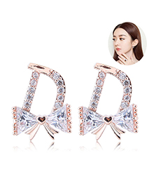 Sweet Gold Color Full Diamond Design Butterfly Shape Earrings