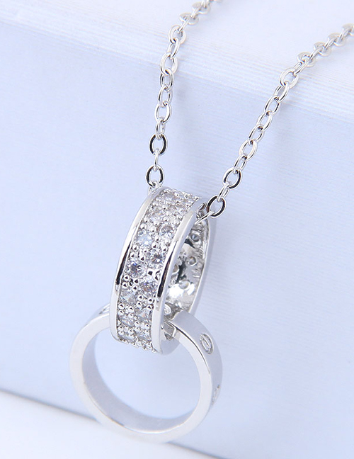 Elegant Silver Color Double Round Shape Decorated Necklace
