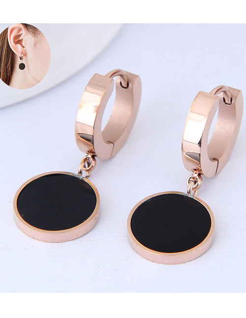 Elegant Rose Gold+black Round Shape Design Simple Earrings