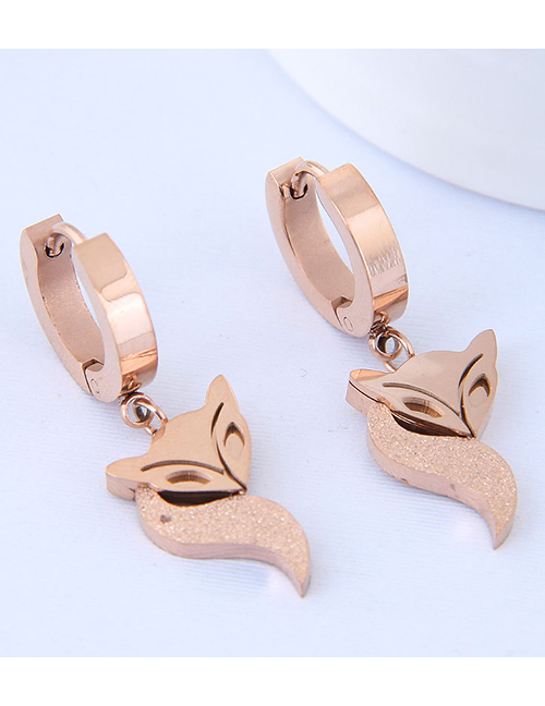 Elegant Rose Gold Fox Shape Design Pure Color Earrings