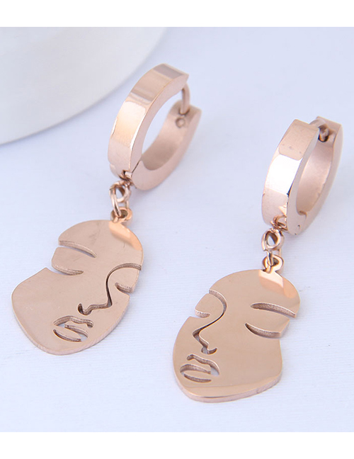 Elegant Rose Gold Mask Pendant Decorated Long Earrings