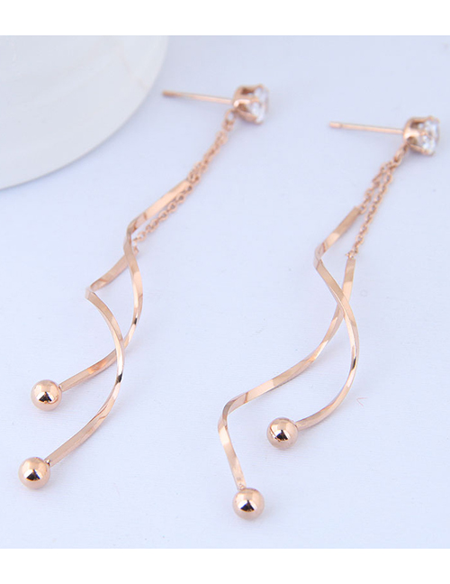 Elegant Rose Gold Balls Decorated Pure Color Earrings