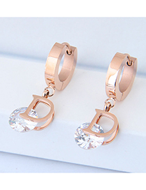 Fashion Rose Gold D Letter Shape Decorated Earrings