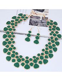 Fashion Green Full Diamond Decorated Jewelry Set