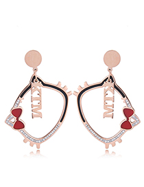 Fashion Rose Gold Cat Shape Decorated Earrings