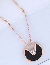 Fashion Rose Gold+black Round Shape Pendant Decorated Necklace
