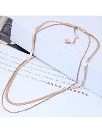 Fashion Rose Gold Multi-layer Design Pure Color Necklace