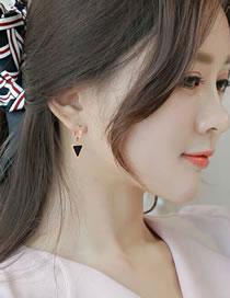 Fashion Black+rose Gold Triangle Shape Decorated Earrings
