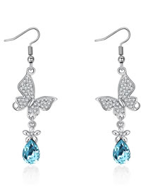 Fashion Silver Color+blue Butterfly Shape Decorated Earrings