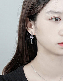 Fashion Silver Color Key Shape Decorated Earrings