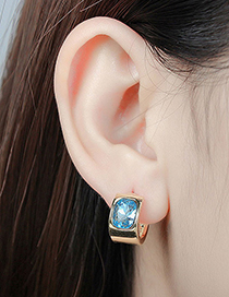 Fashion Gold Color+sapphire Blue Diamond Decorated Earrings