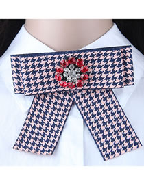 Fashion Pink+navy Flower Shape Decorated Bowknot Brooch