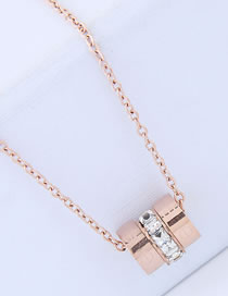 Fashion Rose Gold Diamond Decorated Pendant Necklace