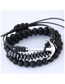Fashion Black Pure Color Decorated Multi-layer Bracelet