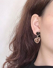 Fashion Brown Heart Shape Decorated Earrings