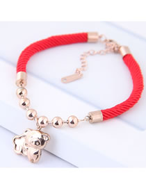 Fashion Red+gold Color Pure Color Decorated Bracelet