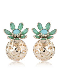 Fashion Gold Color+green Flower Shape Decorated Earrings
