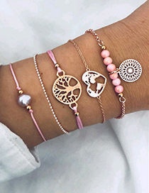 Elegant Pink Pearls&tree Decorated Bracelet(5pcs)